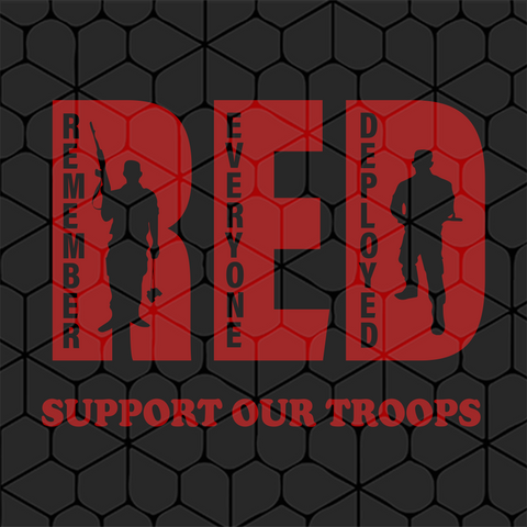 Red support our troops, military gift, PNG, DXF, EPS, PDF, SVG