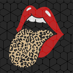 Red lips leopard tongue trendy animal, PNG, DXF, EPS, PDF, SVG