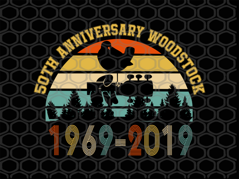 50th anniversary woodstock, 1969-2019, bird and guitar SVG EPS PNG DXF PDF