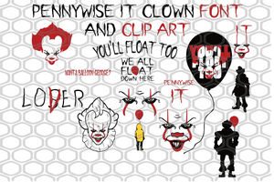 Pennywise it clown font and clip art, pennywise, you'll float too, balloon georde, PNG, DXF, EPS, PDF, SVG