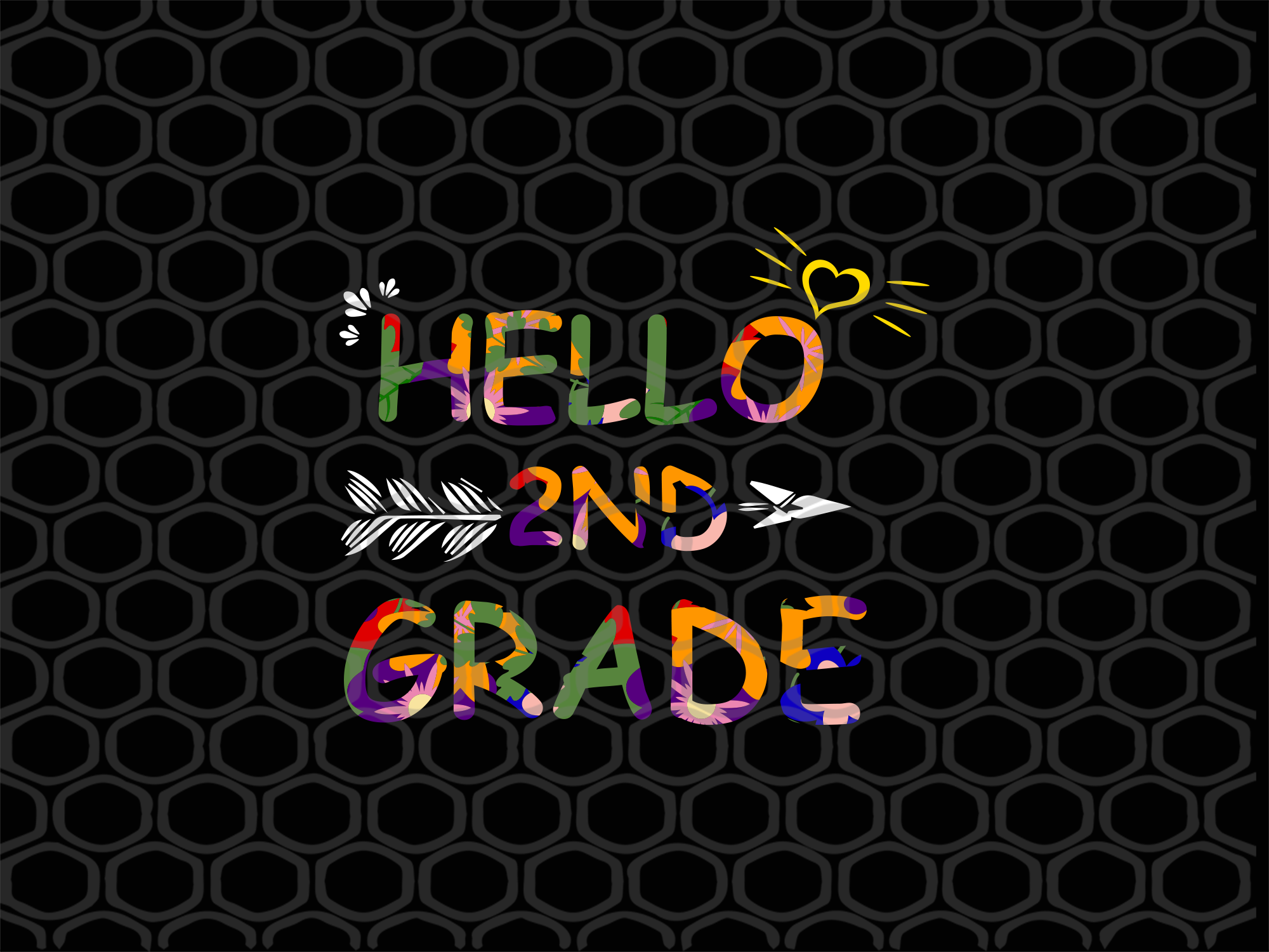 Hello 2nd grade SVG Files For Silhouette, Files For Cricut, SVG, DXF, EPS, PNG Instant Download