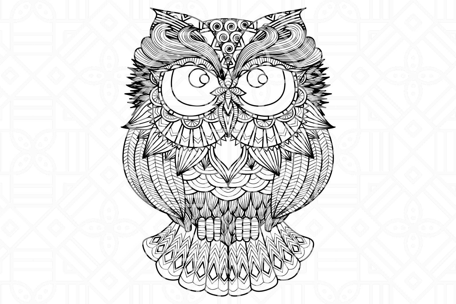 Owl zentangle, PNG, DXF, SVG, EPS, PDF