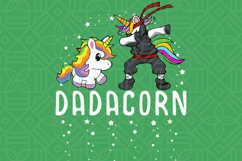 Cute dabbing unicorn dad and kid, PNG, DXF, SVG, EPS, PDF