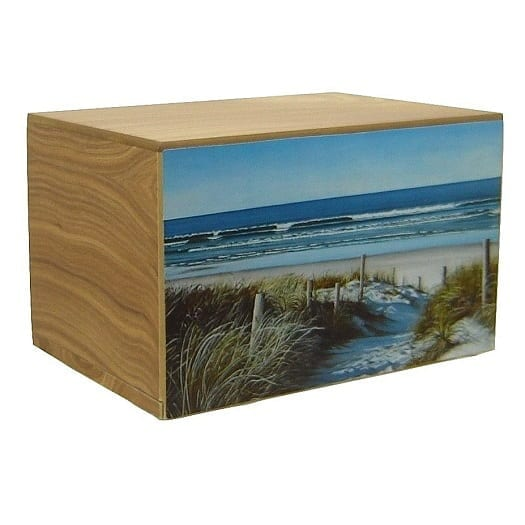 Path To The Beach Urn Natural Finish Wood - Quality Urns & Statues For Less