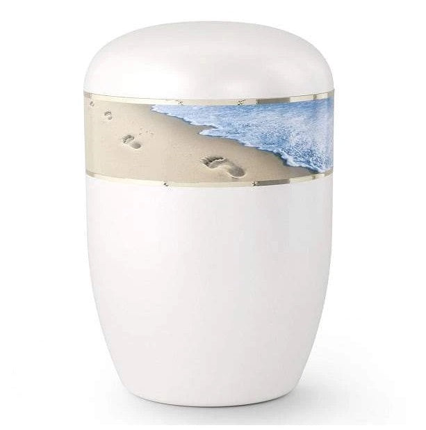 Biodegradable Footprints in the Sand Urn White Adult Size - Quality Urns & Statues For Less