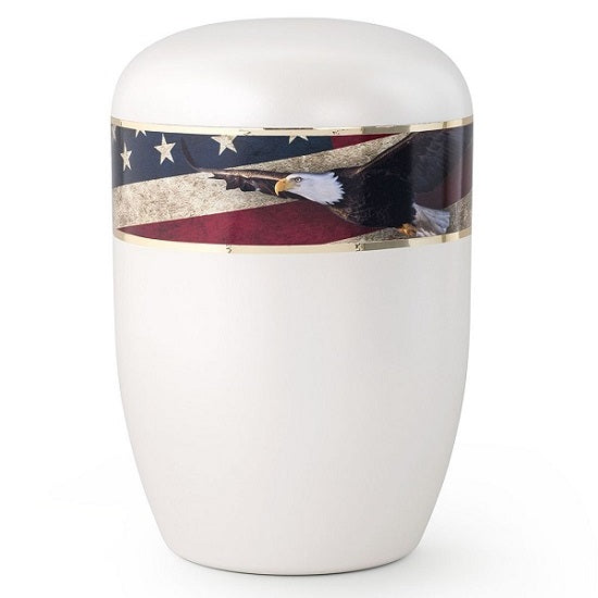 Patriotic Eagle and American Flag Biodegradable Urn - Quality Urns & Statues For Less