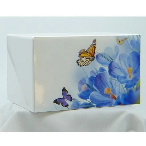 Butterflies Delight on White Urn for Ashes - Quality Urns & Statues For Less