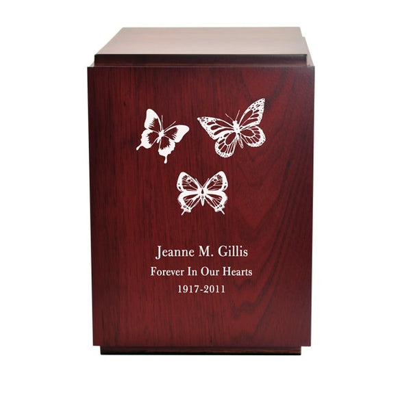 Engraved Butterflies Wooden Urn for Ashes - Quality Urns & Statues For Less