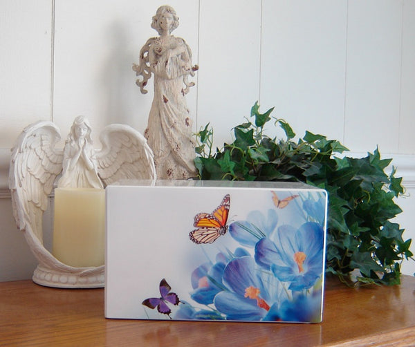 White Butterfly Urn