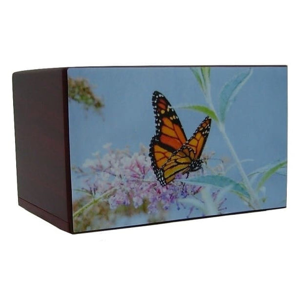 Pastels Butterfly Urn on Light Blue - Quality Urns & Statues For Less