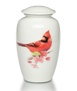 Red Cardinal Cremation Urn White on Branch - Quality Urns & Statues For Less