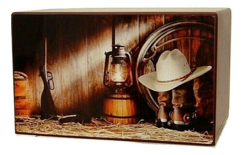 Cowboy Gear Barn Urn for Ashes - Quality Urns & Statues For Less