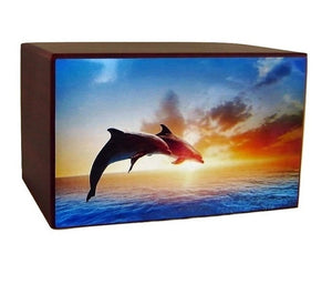 Sunset Horizon Dolphins Funeral Urn for Ashes - Quality Urns & Statues For Less