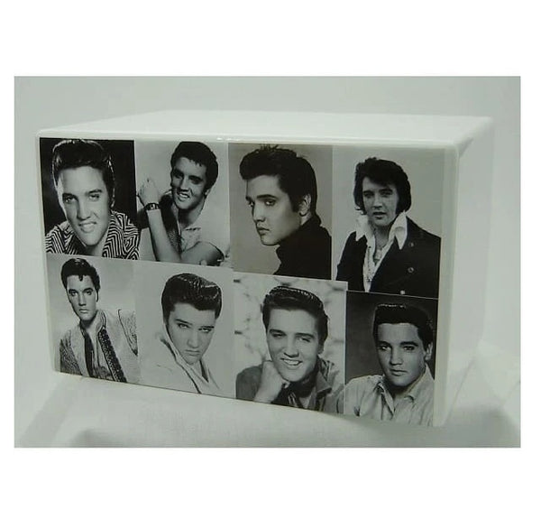 Elvis Urn for Ashes Black and White Collage - Quality Urns & Statues For Less