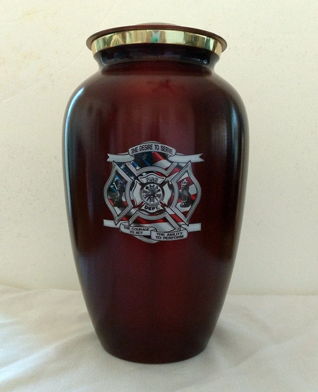 Firefighter Urn for Ashes with Maltese Cross in Deep Red - Quality Urns & Statues For Less