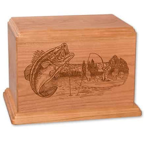 Newport Wood Bass Fisherman Urn Engravable - Quality Urns & Statues For Less