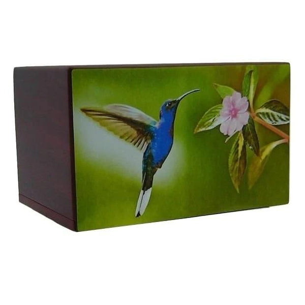Blue Beauty Hummingbird Wooden Urn for Ashes - Quality Urns & Statues For Less