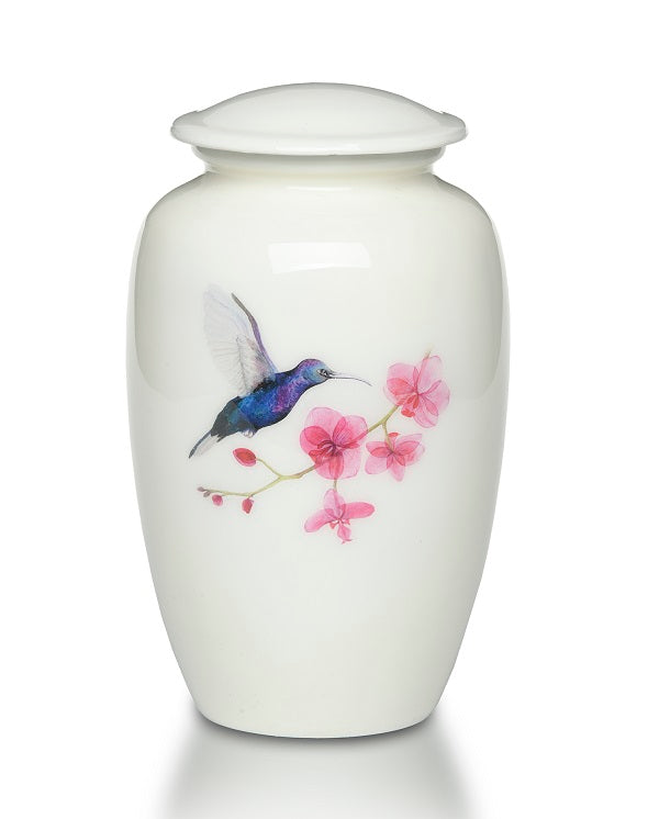 Hummingbird in Springtime Urn