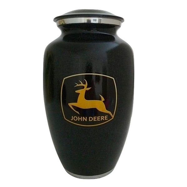 Tractor Urn with Black and Yellow Emblem - Quality Urns & Statues For Less