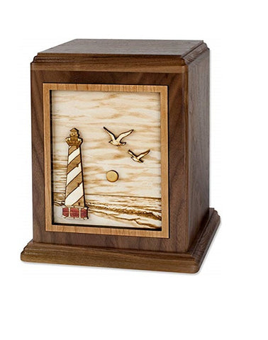 Cape Lighthouse Urn in Walnut Hardwood - Quality Urns & Statues For Less