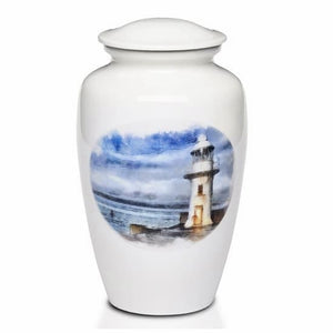 White Lighthouse Urn for Ashes - Quality Urns & Statues For Less