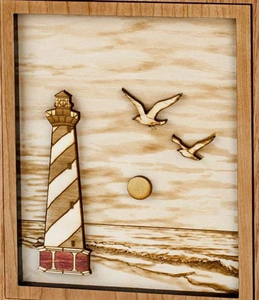 Cape Lighthouse Urn 3D Inlay Oak - Quality Urns & Statues For Less