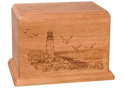 Cherry Laser Etch Lighthouse Urn - Quality Urns & Statues For Less