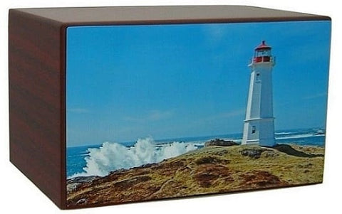 White Lighthouse Blue Skies Urn - Quality Urns & Statues For Less
