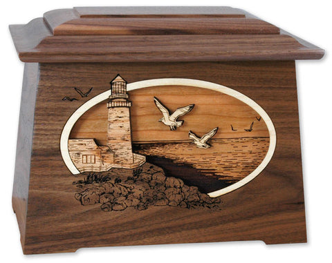 Walnut Astoria Lighthouse Urn - Quality Urns & Statues For Less