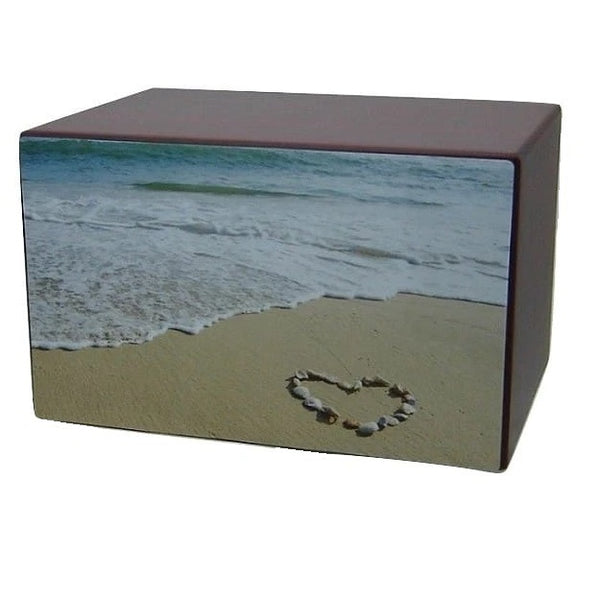 Love the Beach Urn for Ashes Shell Heart - Quality Urns & Statues For Less