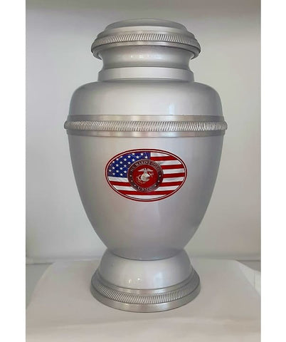 Marine Corps with American Flag Metal Urn - Quality Urns & Statues For Less