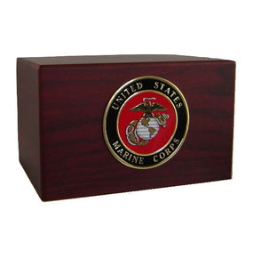 Marine Corps Urn Wooden Cremation Box with Medallion - Quality Urns & Statues For Less