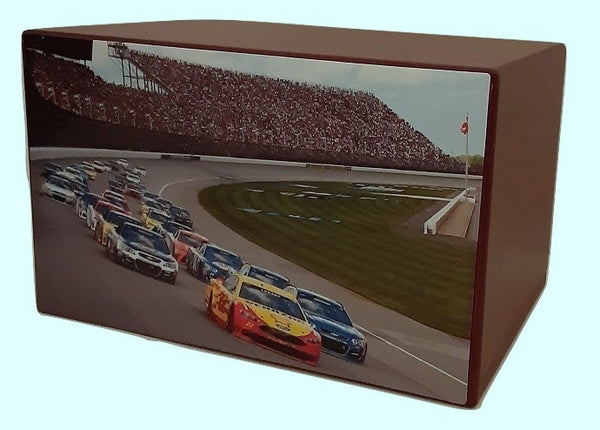 Race Car Racetrack Urn on Blue Wood - Quality Urns & Statues For Less