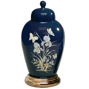 Navy Blue Ceramic Butterfly Cremation Urn - Quality Urns & Statues For Less
