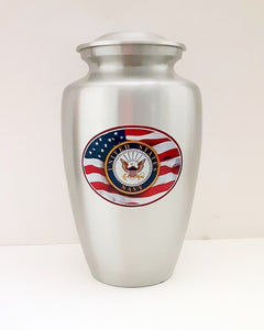 Navy Military Urn with American Flag - Quality Urns & Statues For Less