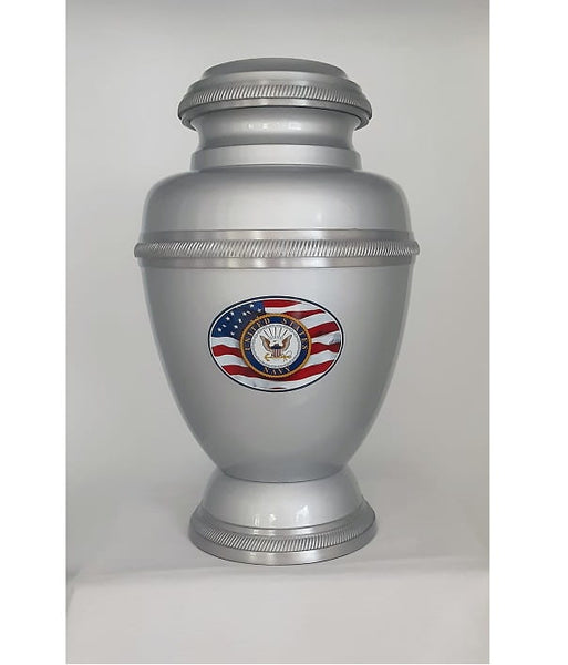 Navy Urn with American Flag with Rope Trim - Quality Urns & Statues For Less