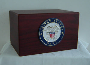 Navy Medallian Wooden Military Urn - Quality Urns & Statues For Less