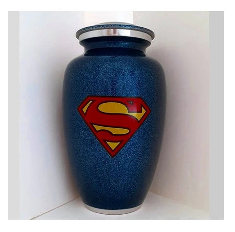 Superman Emblem Cremation Urn for Ashes in Blue - Quality Urns & Statues For Less