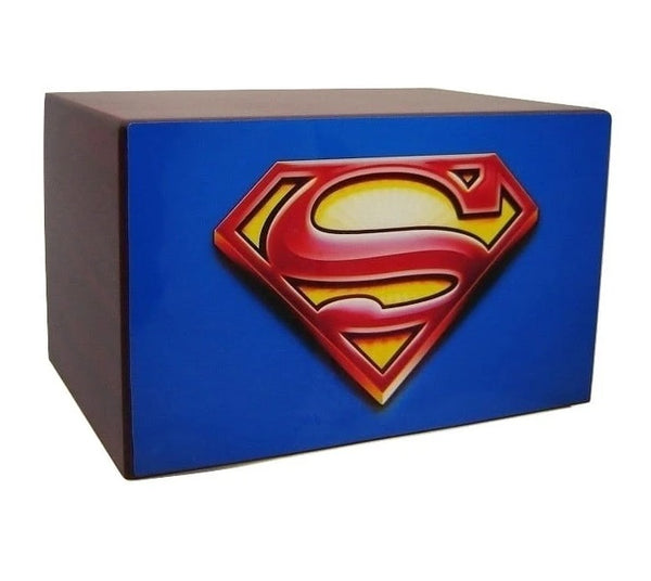 Superman Funeral Urn for Ashes Cherry Wood - Quality Urns & Statues For Less