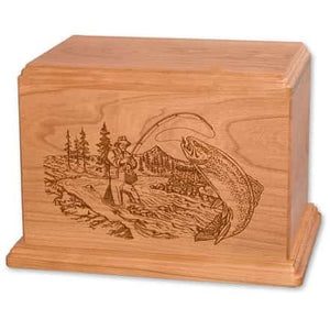 Etched Trout Stream Fisherman Urn Engravable - Quality Urns & Statues For Less