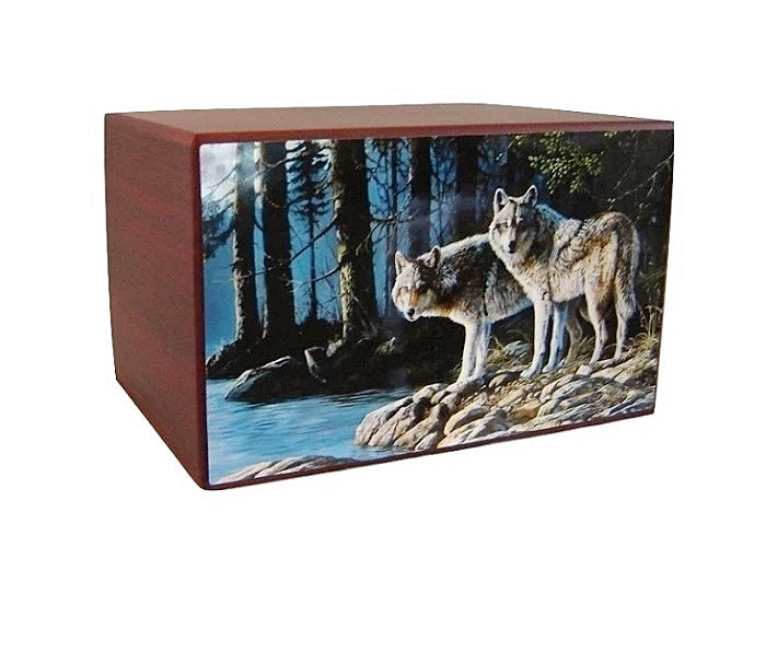 Wolves in Paradise Urn Natural Habitat - Quality Urns & Statues For Less