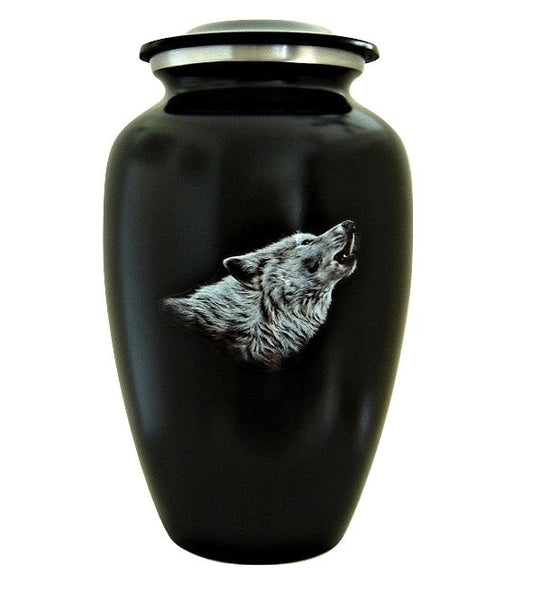 Howling Wolf Cremation Urn for Ashes Black - Quality Urns & Statues For Less