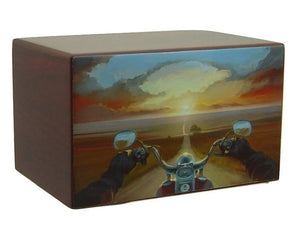 Motorcycle Urn Riding Into the Sunset - Quality Urns & Statues For Less