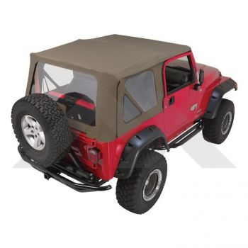 RT Off-Road Complete Soft Top (Khaki Diamond-Tinted Windows) Part Number CT20436T Suit TJ Jeep Wrangler 1997-2006