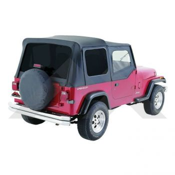 RT Off-Road Replacement Soft Top (Black Denim-Tinted Windows) Part Number RT10015T Suit YJ Jeep Wrangler 1988-1995