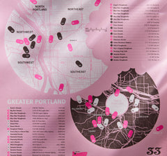 Portland Doughnut Map Including Voodoo Doughnuts, Blue Star Doughnuts and Pip's Original Doughnuts