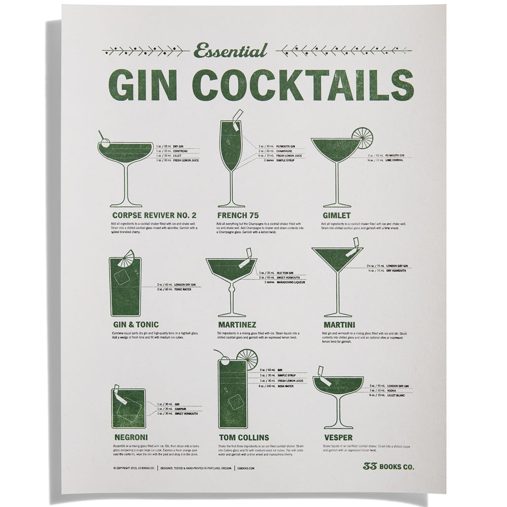 Essential Gin Cocktails Letterpress Print