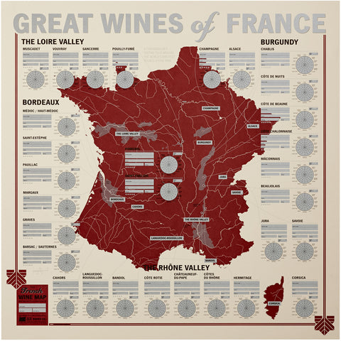 Great Wines of France: Unique Wine Tasting Map