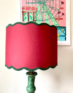 Pair of Red Drum Lampshades with Green Scalloped Felt Trim