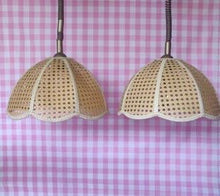 Load image into Gallery viewer, 1970s Woven Rattan Pendent Shades with Rise-and-Fall Wiring